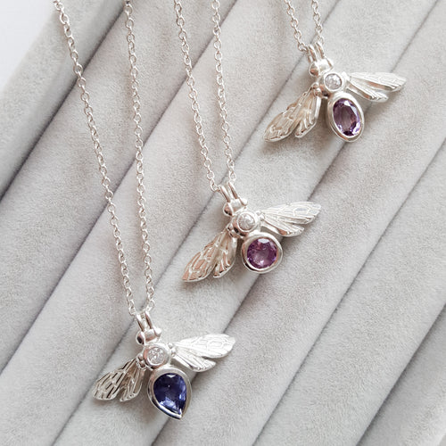 Gemstone Bee Necklace with Iolite