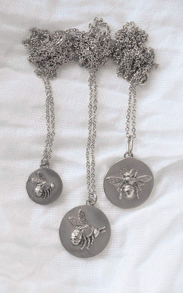 Silver bee coin layering necklace