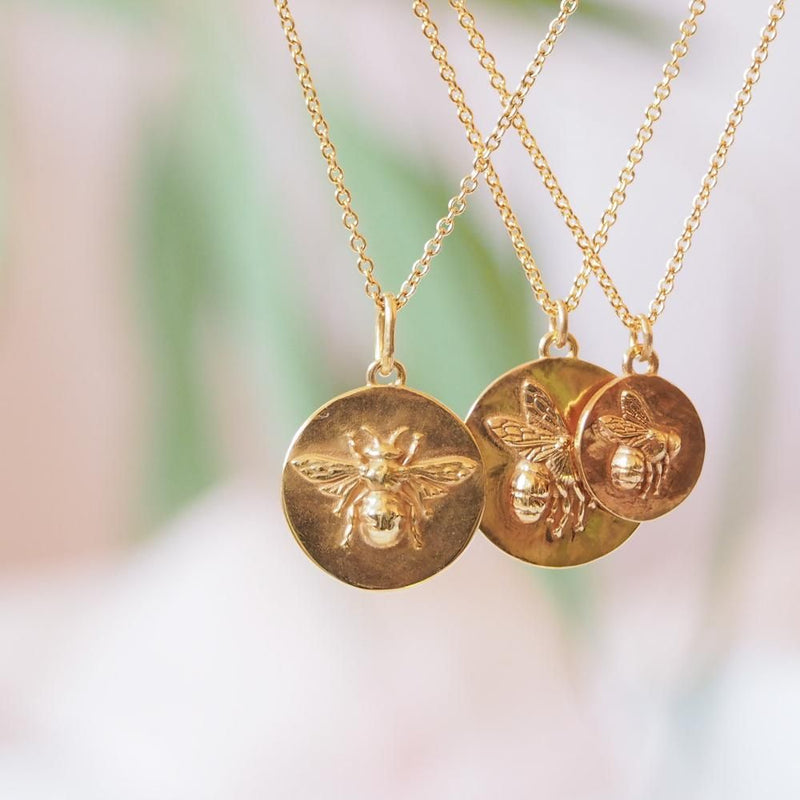Gold vermeil Bee coin medallion necklace pendant