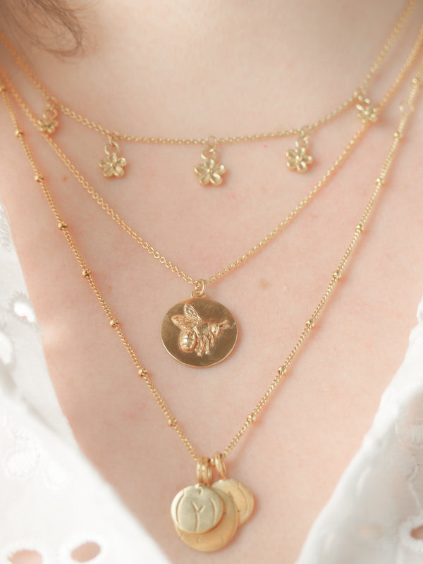 Gold vermeil bumblebee coin disk pendant necklace