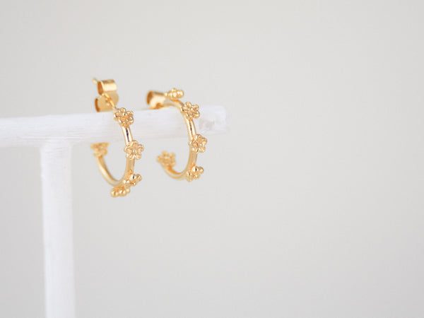 Gold vermeil small flower hoop earrings