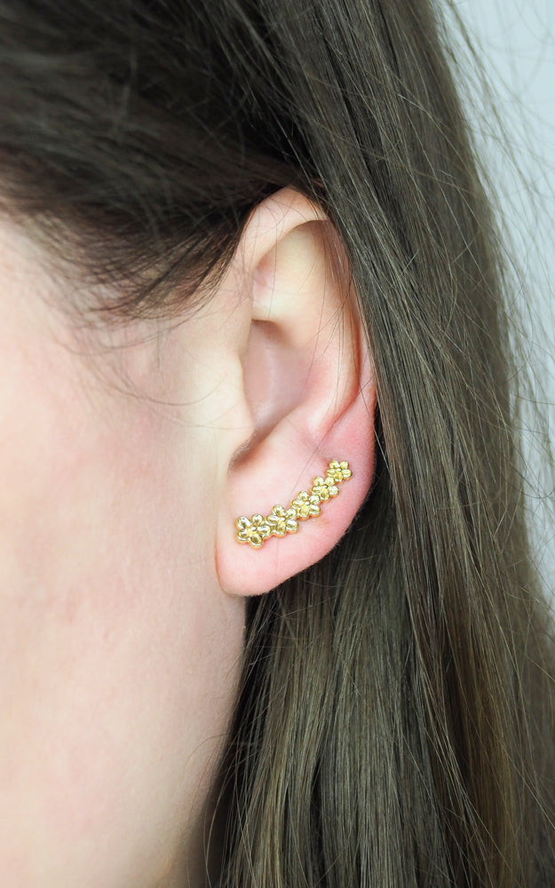 Gold vermeil flower ear climber earrings