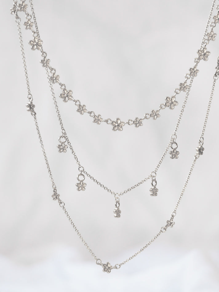 Silver blossom flower station dot layering necklace