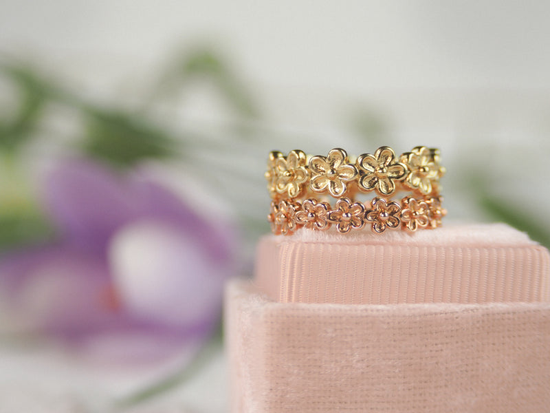 rose gold flower eternity stacking ring