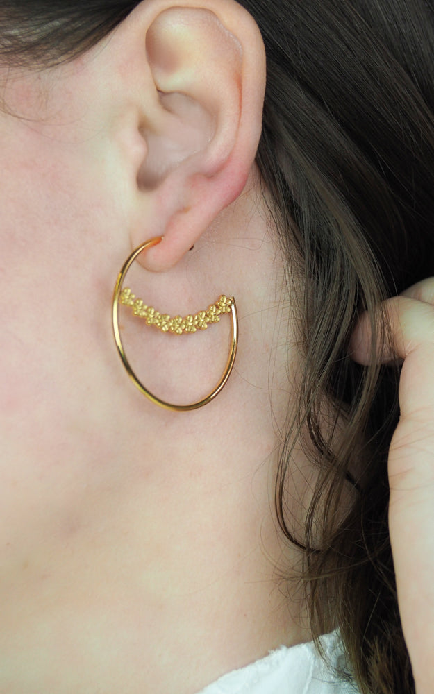 gold vermeil flower large hoop earrings