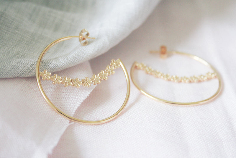 gold vermeil flower hoop earrings