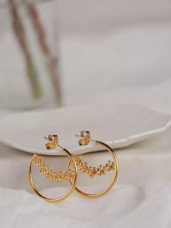 Gold Vermeil Midi Flower Hoop Earrings
