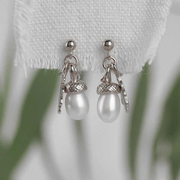Silver Pearl Acorn Earrings