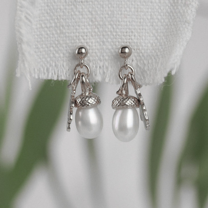 sterling silver pearl acorn earrings
