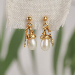 gold vermeil acorn drop earrings with pearl acorns and tiny oak leaves