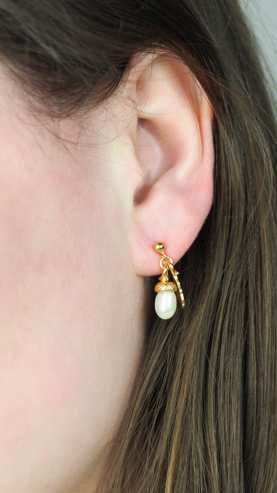 gold vermeil acorn earrings with pearl acorns and tiny oak leaves