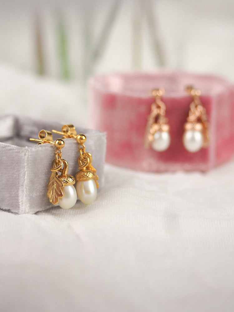 gold vermeil acorn drop earrings with freshwater cultured pearl acorns and tiny oak leaves