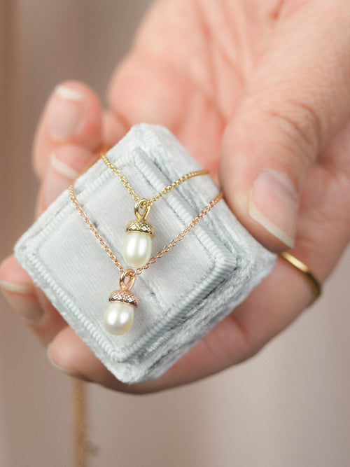 rose gold pearl acorn necklace