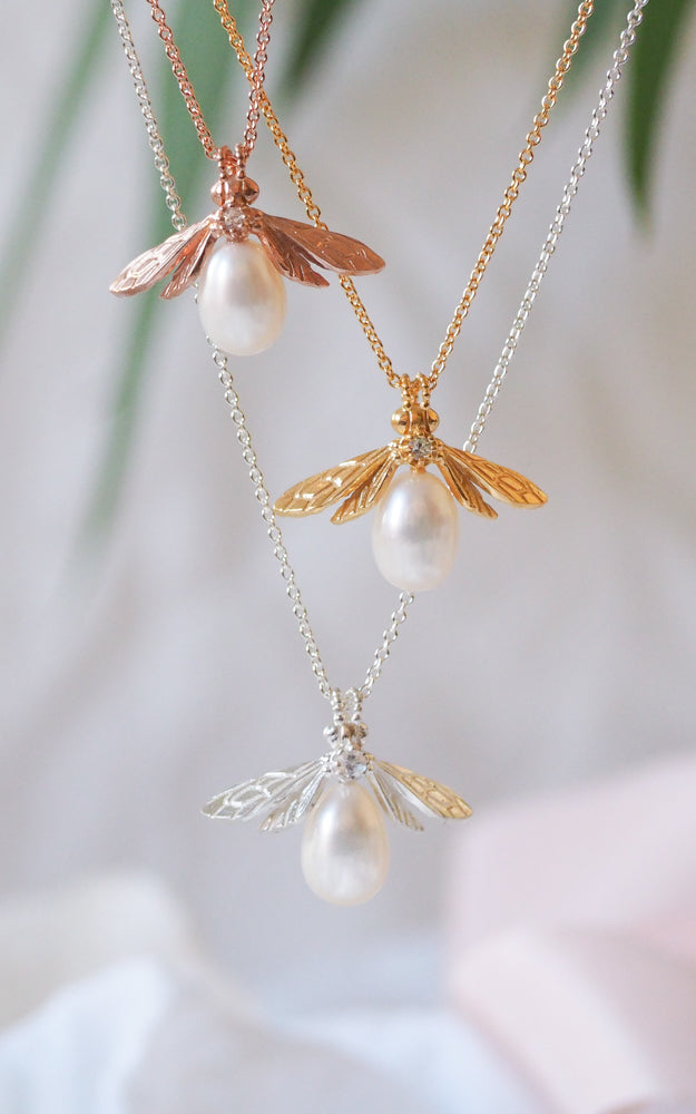 Silver Pearl Bee Necklace