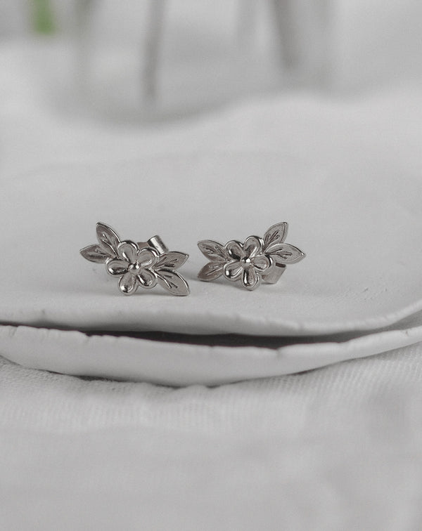 Silver Posy Flower Stud Earrings