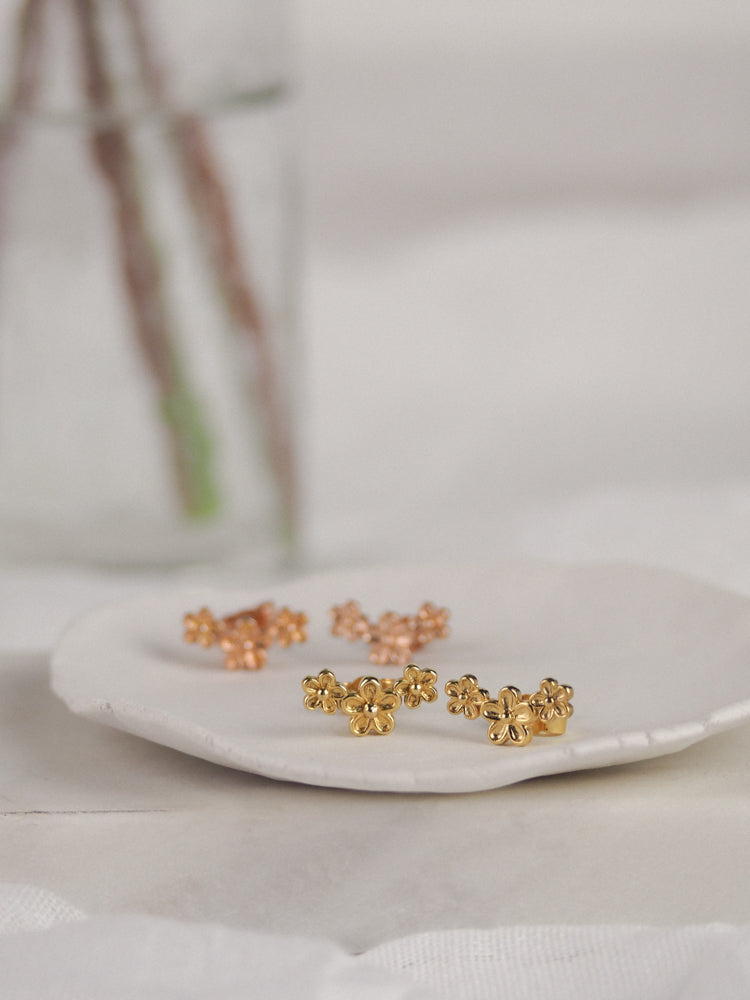 Gold Vermeil Triple Flower Stud Earrings
