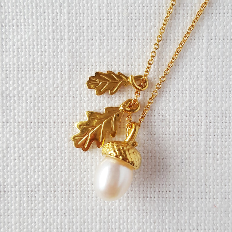 Gold Pearl Acorn with Oak Leaves Necklace Pendant