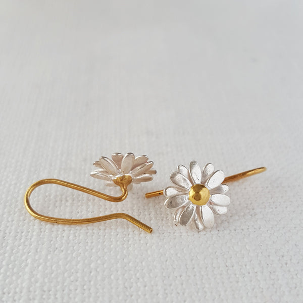 Gold and Silver small Daisy Drop Earrings two tone