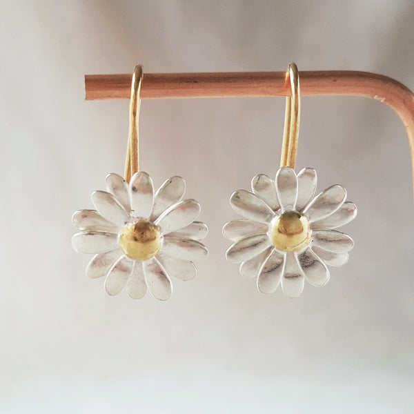 Gold and Silver Two Tone daisy Drop Earrings