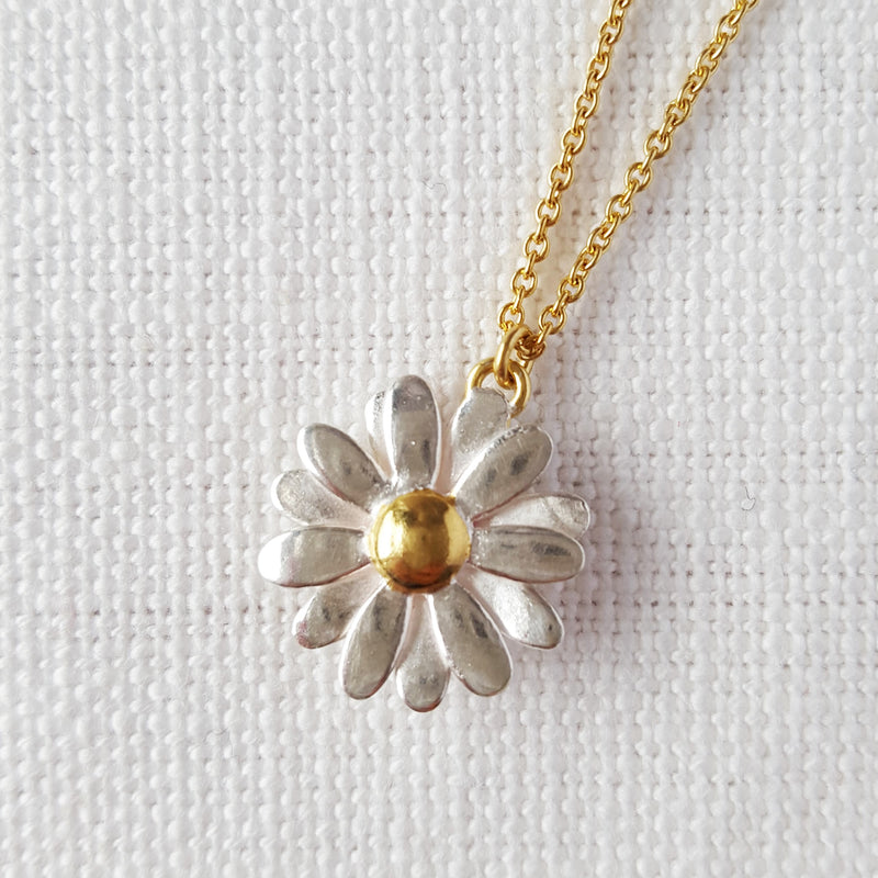 Gold and Silver Daisy Necklace Pendant