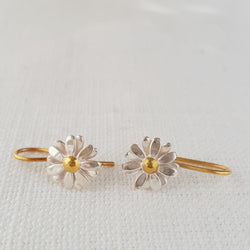 Gold and Silver Small Daisy flower Drop Earrings two tone