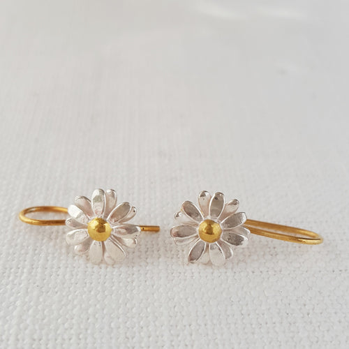 Gold and Silver Small Daisy Drop Earrings