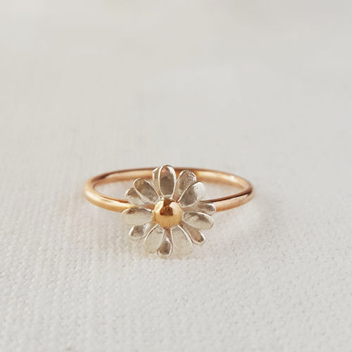 Gold and Silver Daisy Stacking Ring