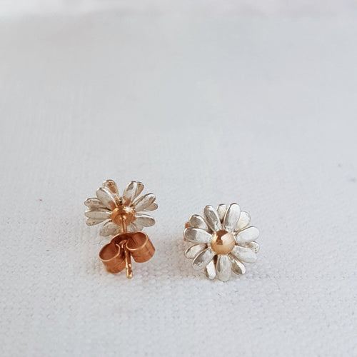 Small Gold and Silver Daisy Stud Earrings