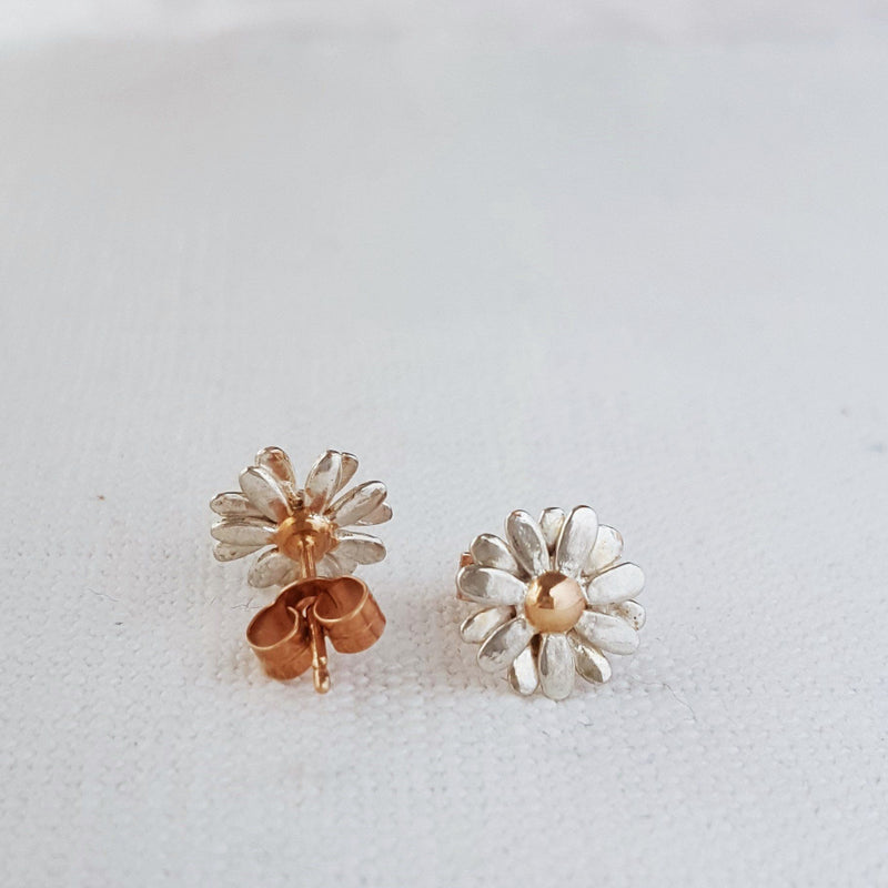 Gold and Silver Two Tone small Daisy flower Stud Earrings handmade in Birmingham