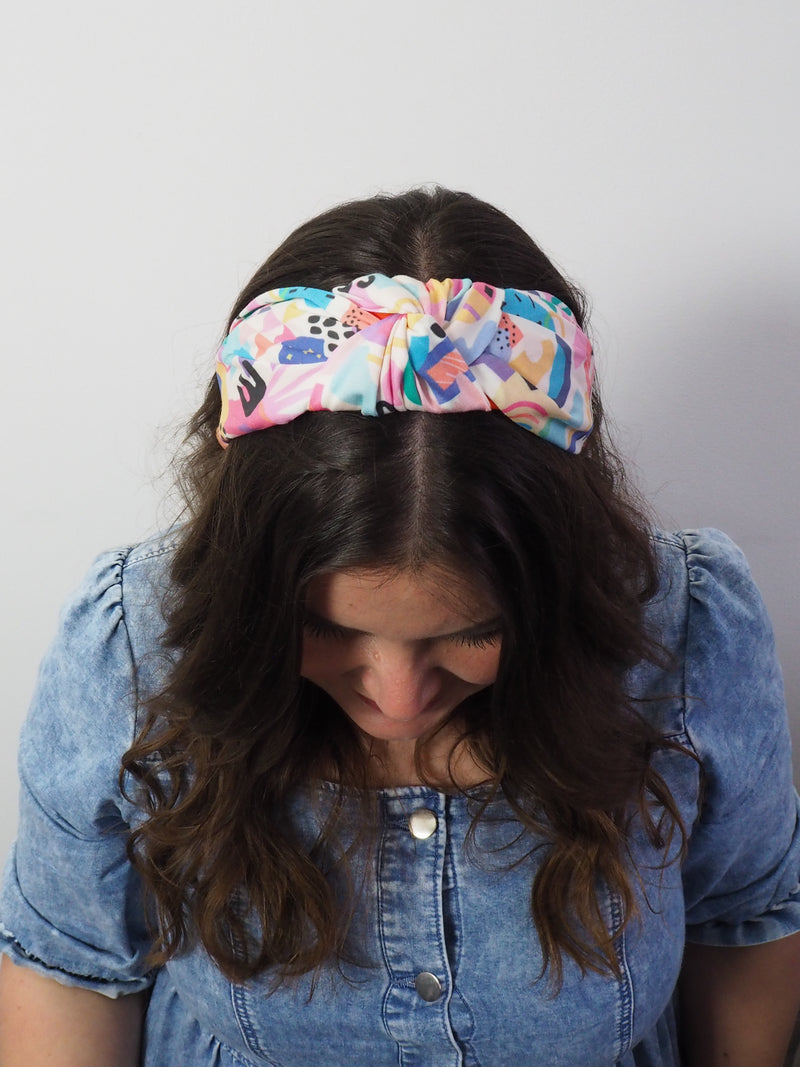 Pastel graphic geometric wide knot fabric headband
