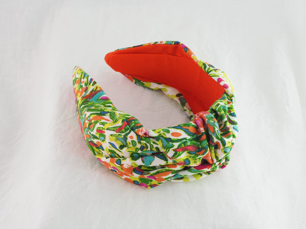 Green floral foliage wide knot fabric headband