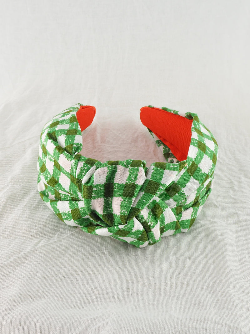 Vintage green gingham wide knot fabric headband