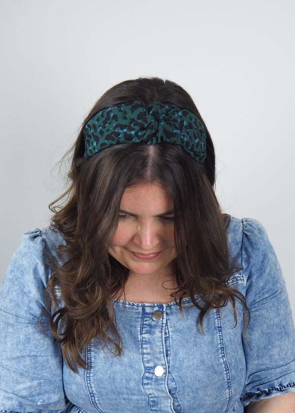 Green Leopard Print Wide Knot Headband