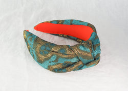Teal and Gold Jacquard Wide Knot Headband