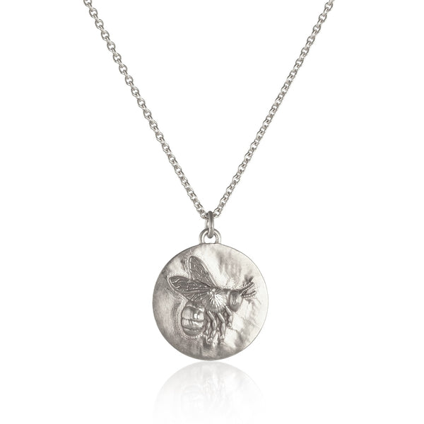 Silver flying bee coin necklace