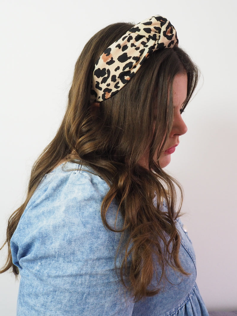 Leopard print wide knot fabric headband