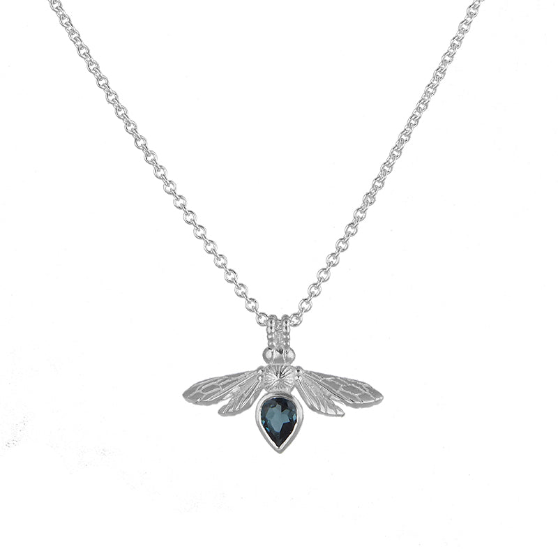 Silver Mini Gemstone Bee with London Blue Topaz