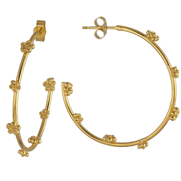 Gold Maxi Blossom Flower Hoop Earrings