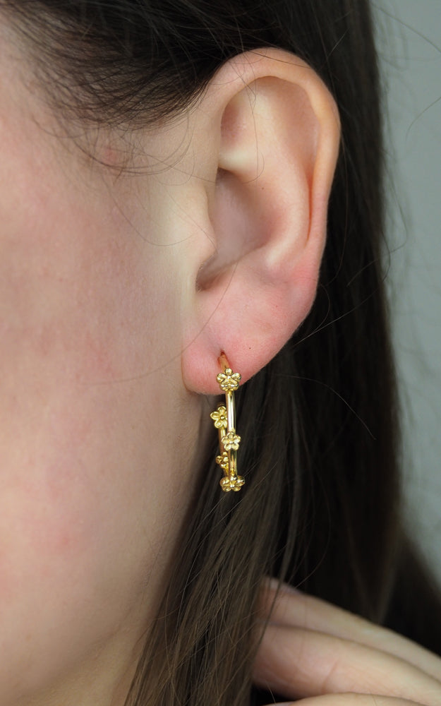 Gold blossom flower hoop earrings midi