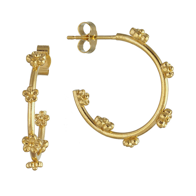 Midi Gold Blossom Flower Hoop Earrings