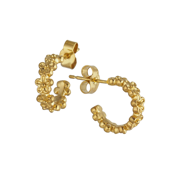 Gold huggie mini flower hoop earrings