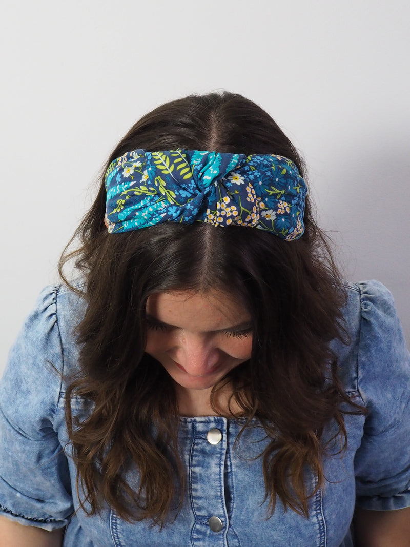 Midnight Blue Floral Wide Knot Headband