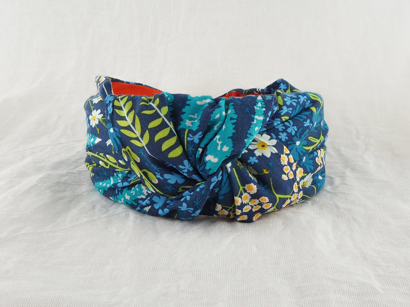 navy blue floral wide knot fabric headband
