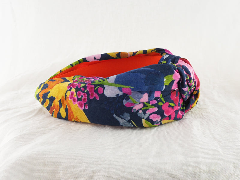 Navy Florals Wide Knot Headband