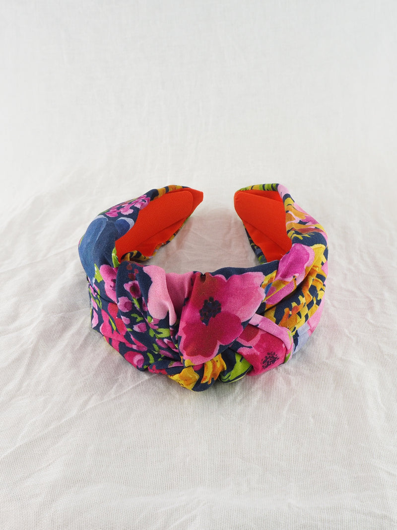 Navy and pink floral fabric knot headband