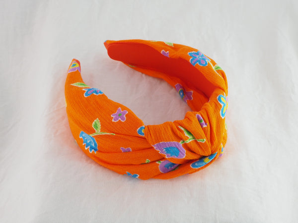 Orange flower fabric knot headband