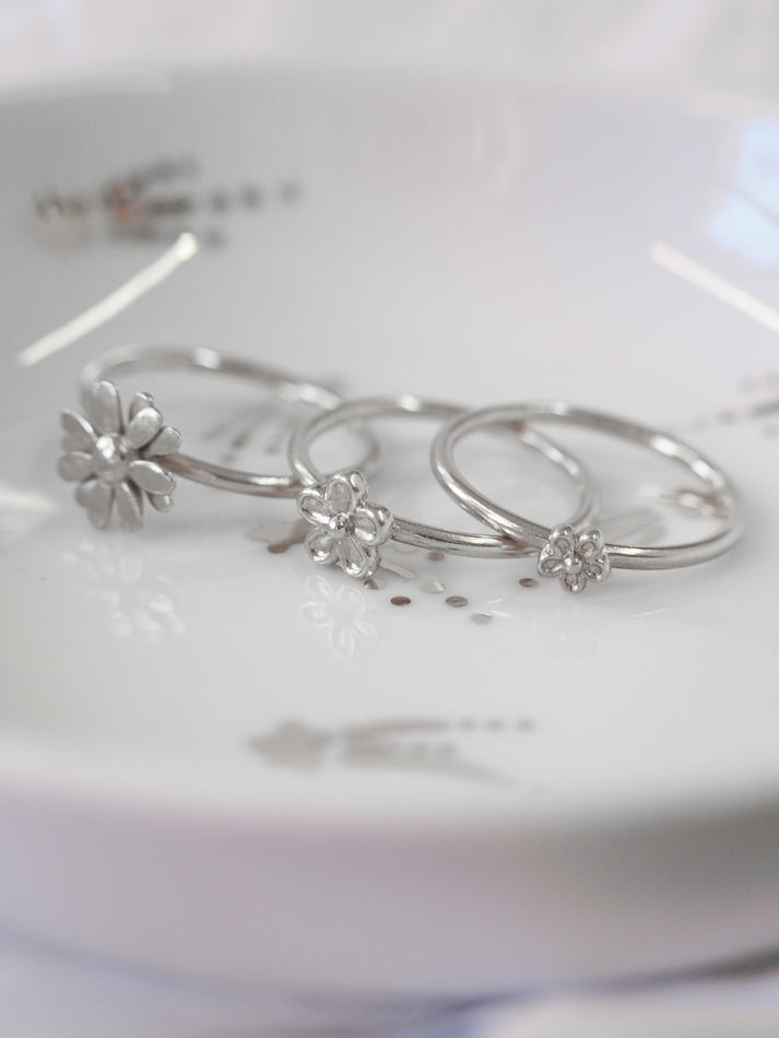 Silver Blossom Flower Stacking Ring