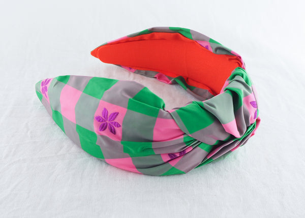Green and Pink Taffeta Gingham Wide Knot Headband