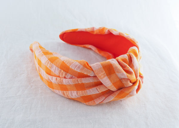 Orange and Peach Gingham Seersucker Headband
