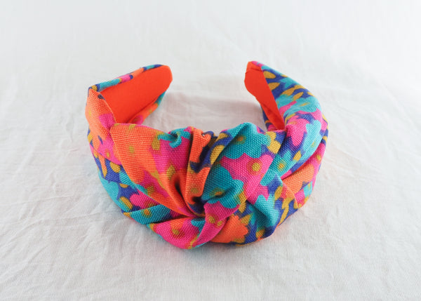 Orange Flowers Wide Knotted Headband